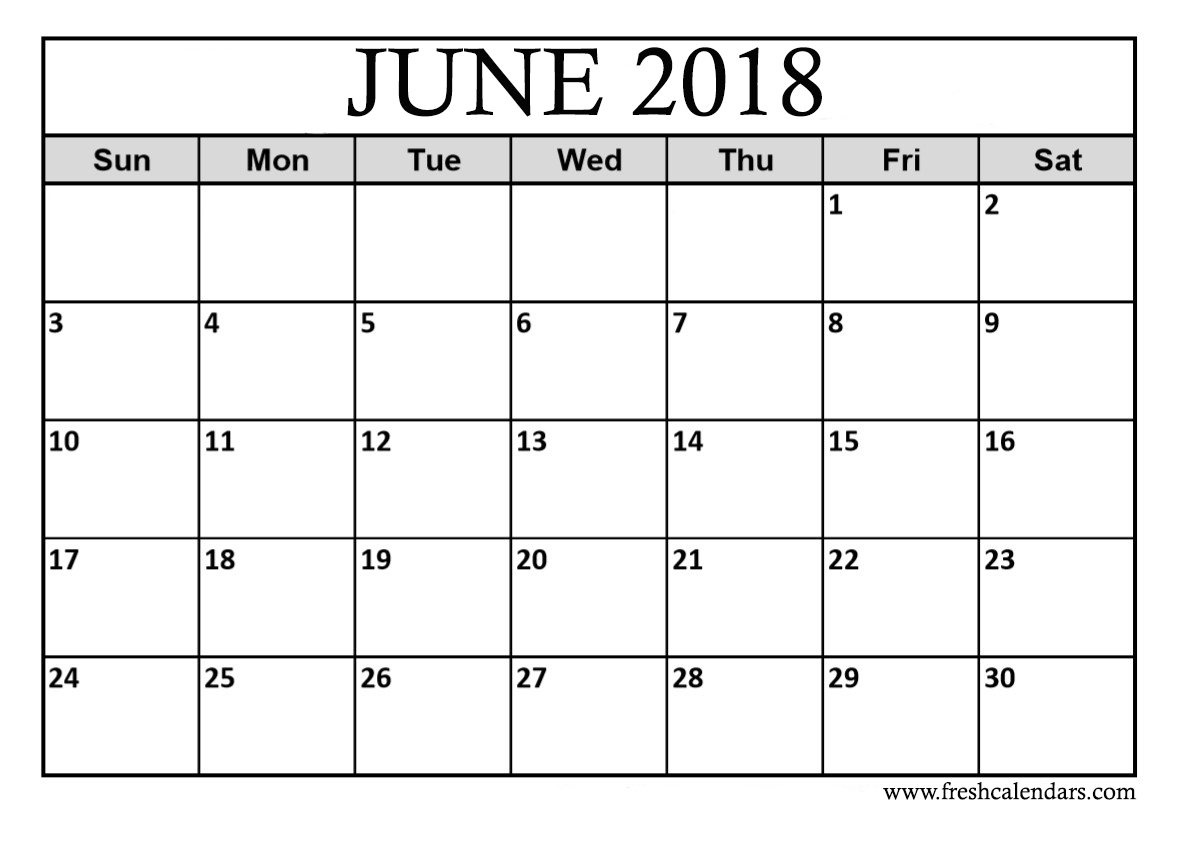 Calendar For 2018 June Month