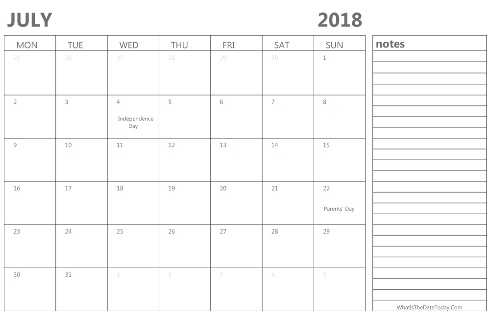 Calendar For July 2018 With Notes