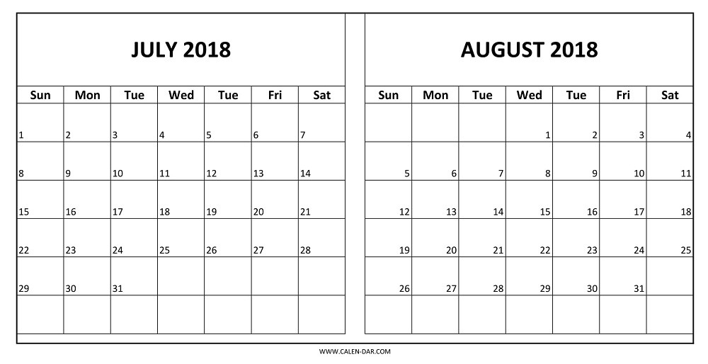 Calendar for July August 2018