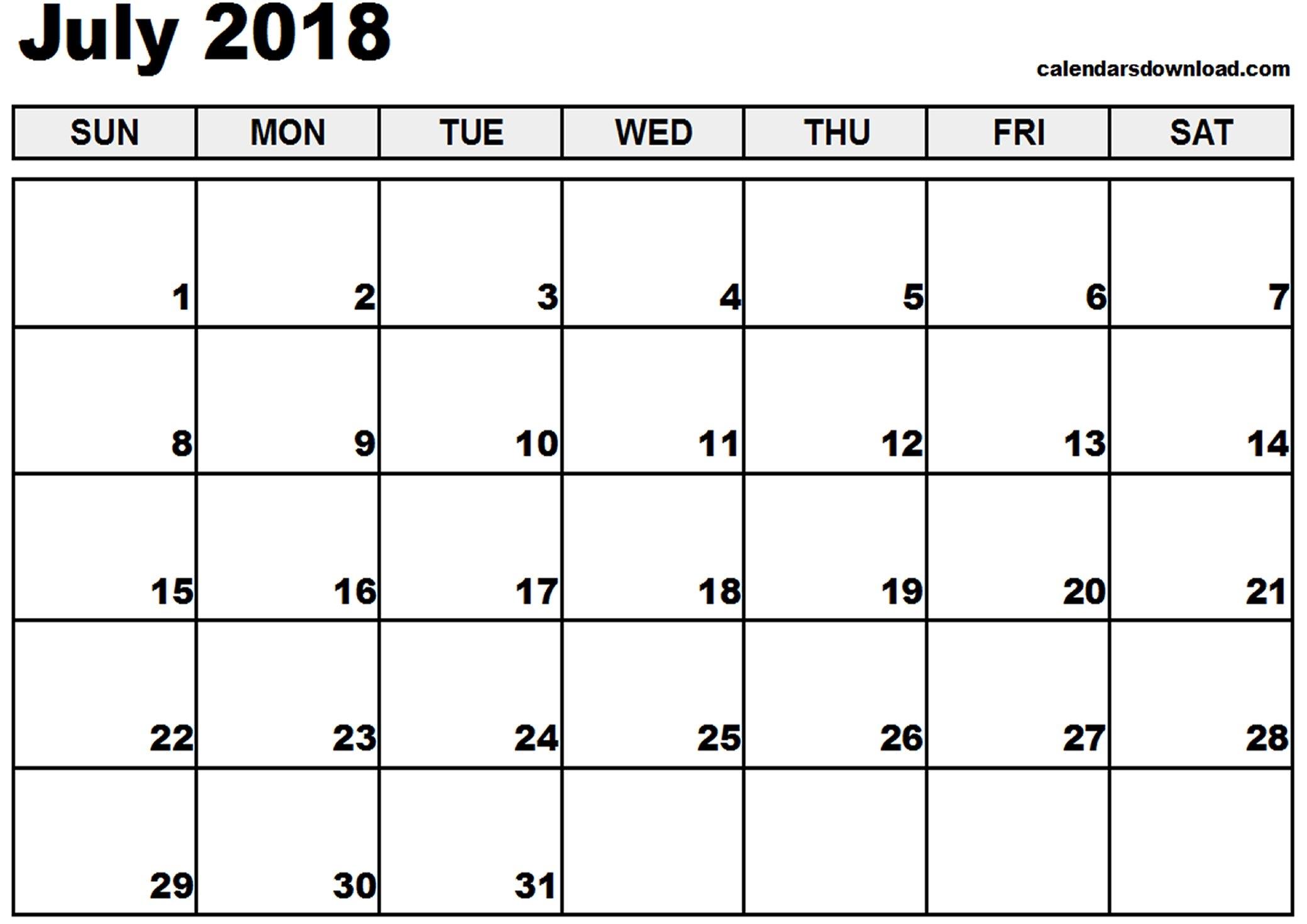Calendar July 2018 Excel