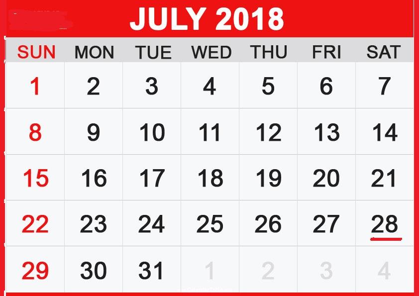 Calendar July 2018 Malaysia