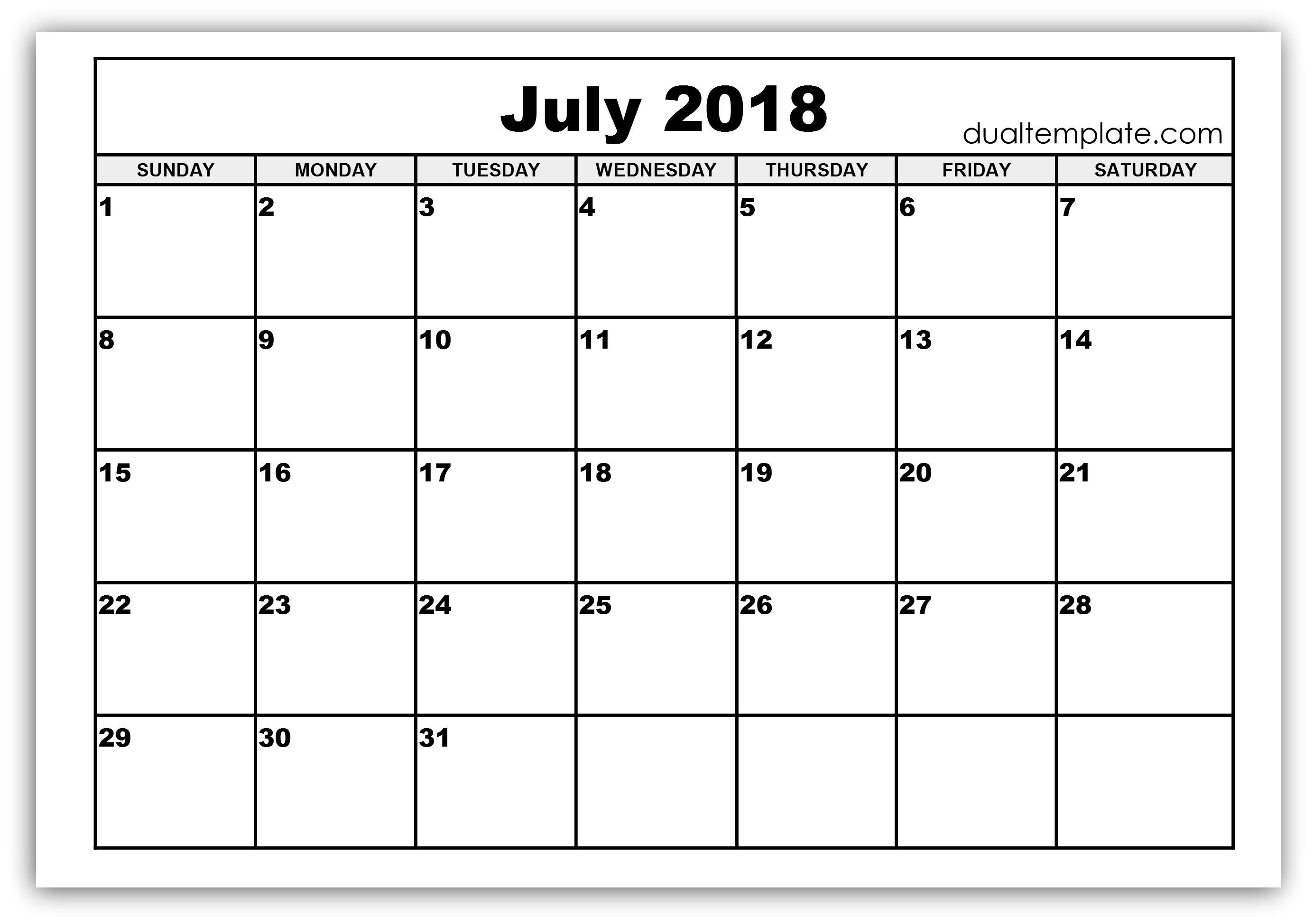 Calendar July 2018 Word