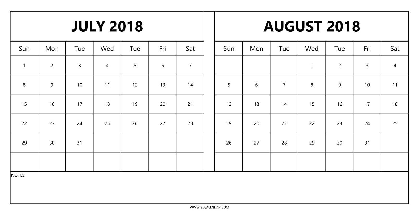 Calendar July And August 2018