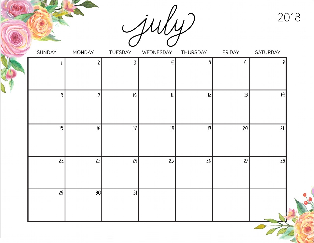 Calendar Template 2018 July Month