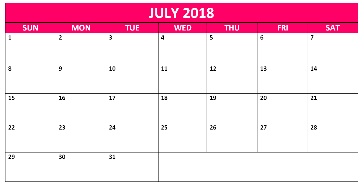 Calendar Template For July 2018