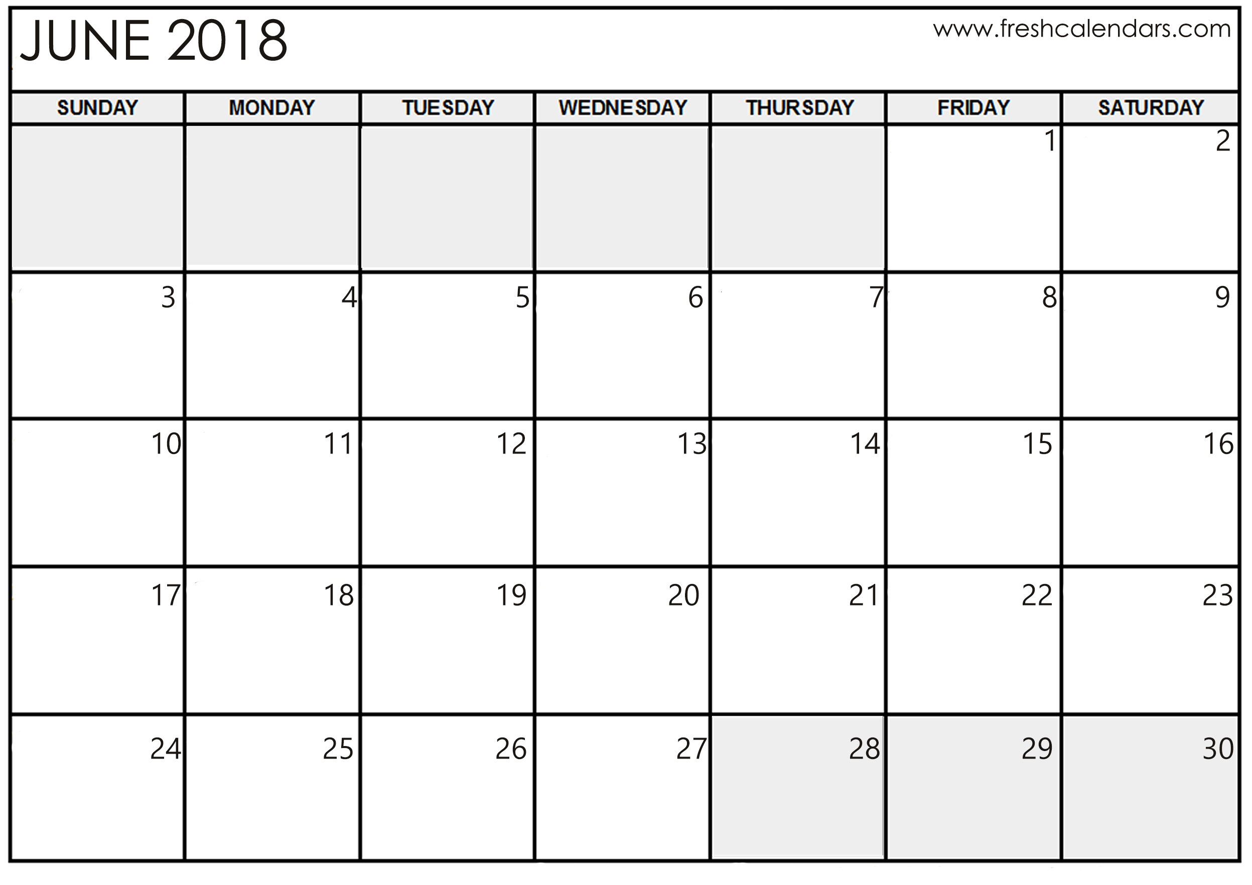 Calendar Template For June 2018