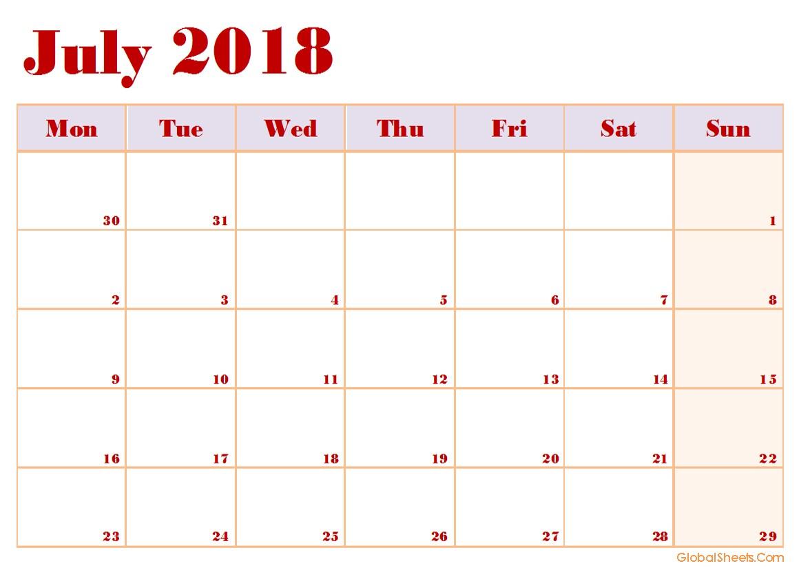 Calendar Template July 2018