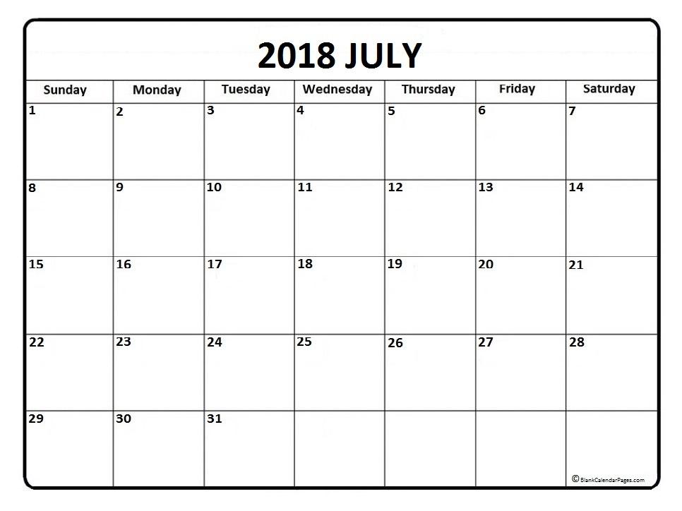 Calendar for July 2018 Free Download