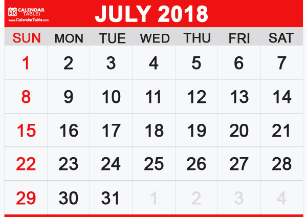 Calendar for July 2018 In Pdf