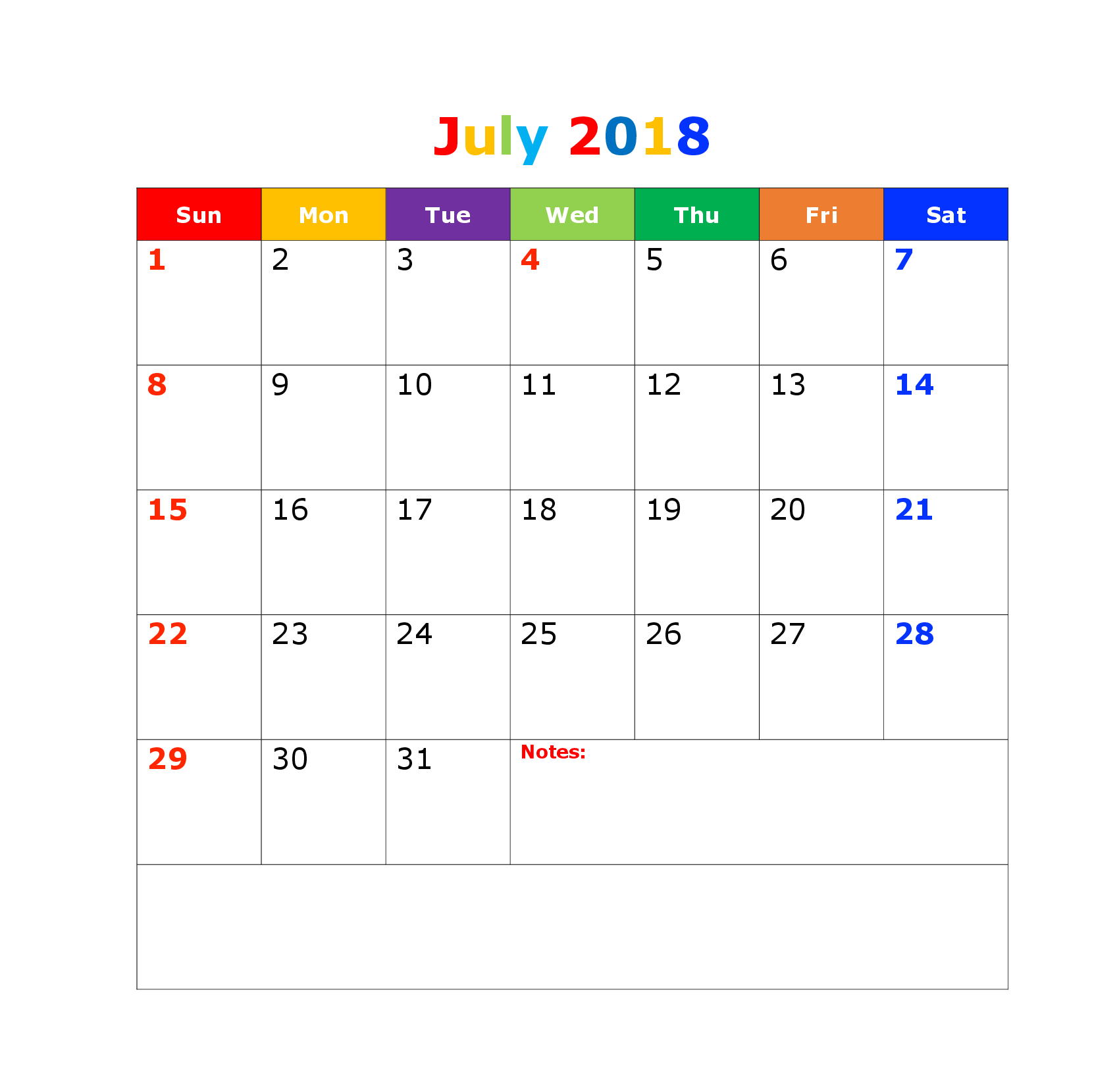 Calendar of July 2018 Download