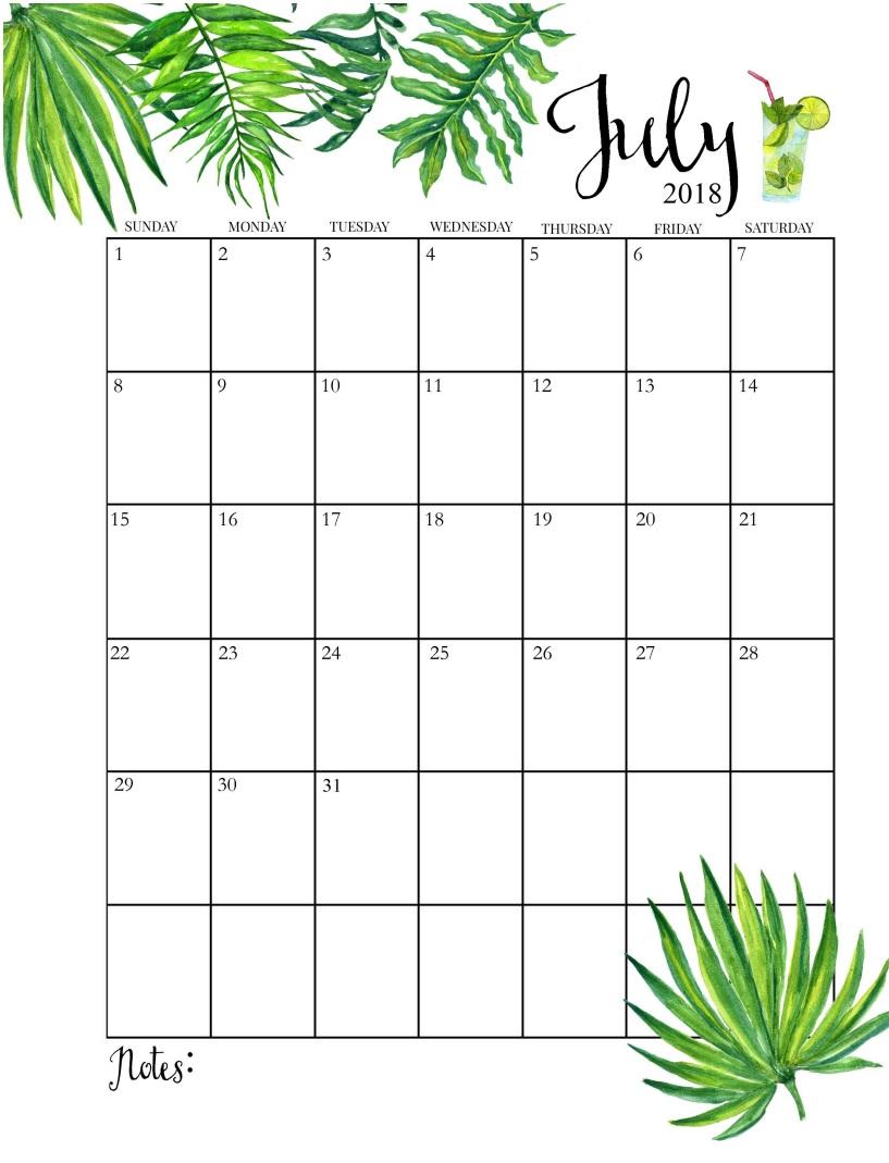Calendar of July 2018