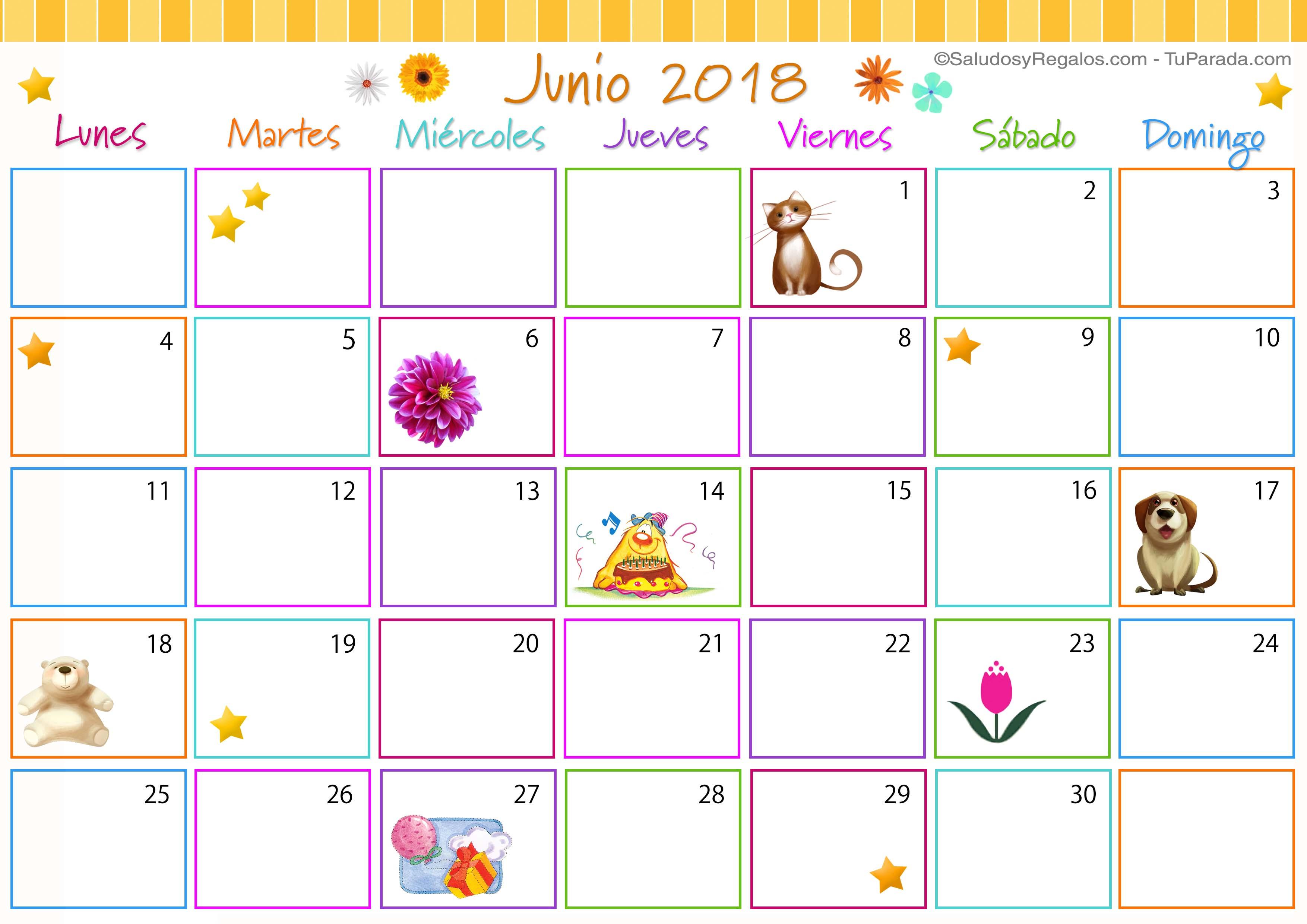 Calendario Junio 2018 Con Festivos