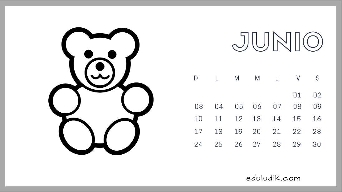 Calendario Junio 2018 Eduludik