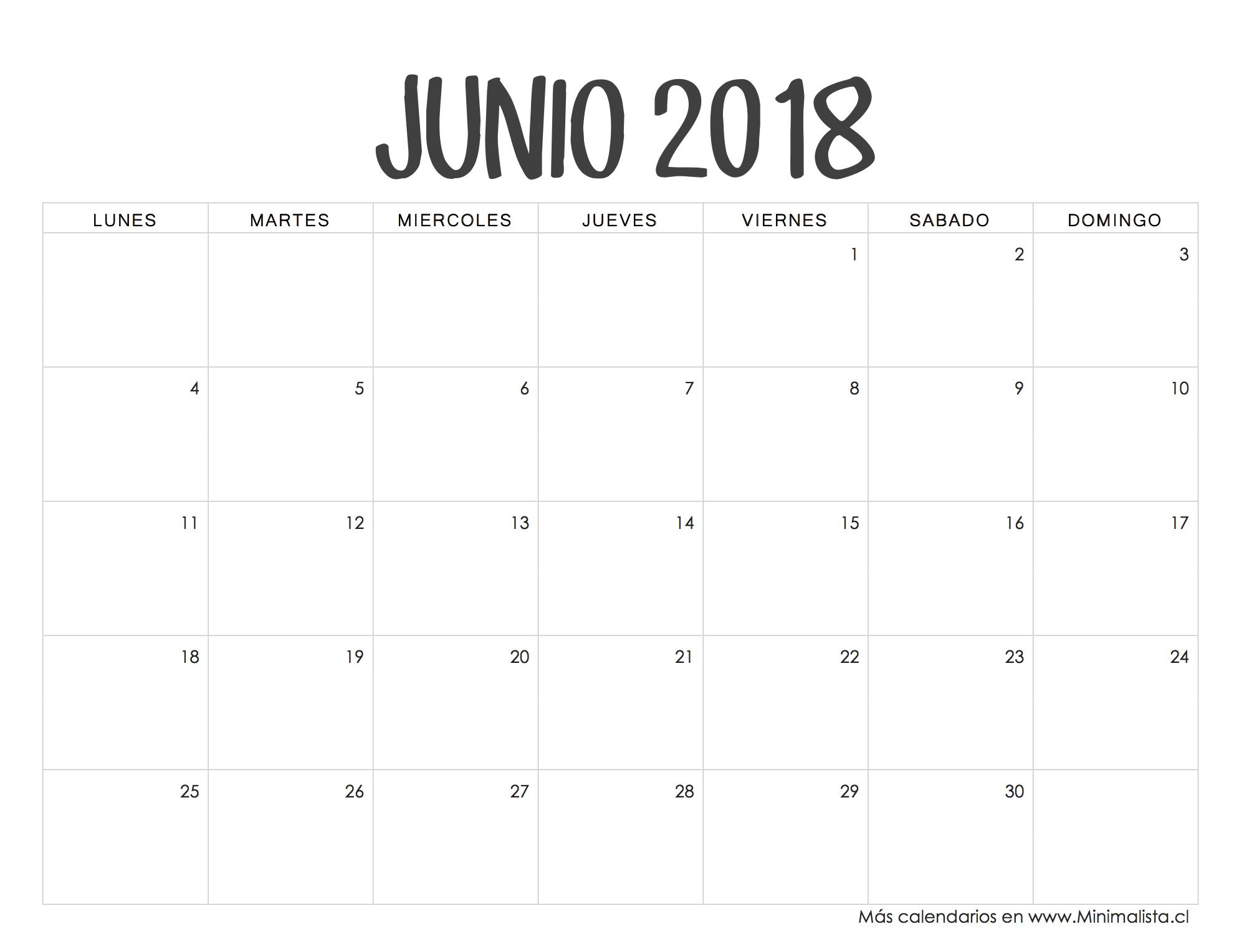 Calendario Junio 2018 Para Imprimir
