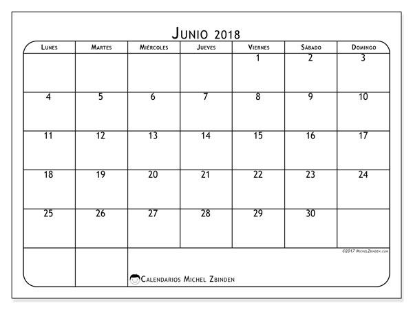 Calendario de Junio 2018 Gratis