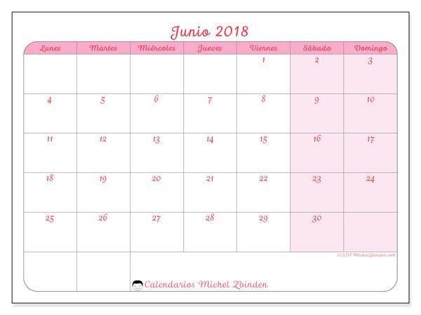 Calendario de Junio de 2018 Descargar
