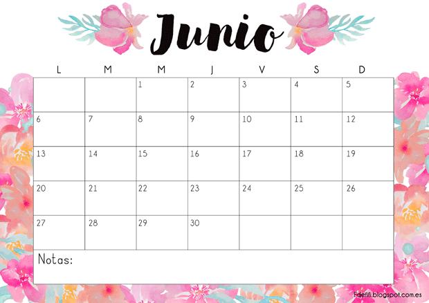 Calendario de Junio de 2018