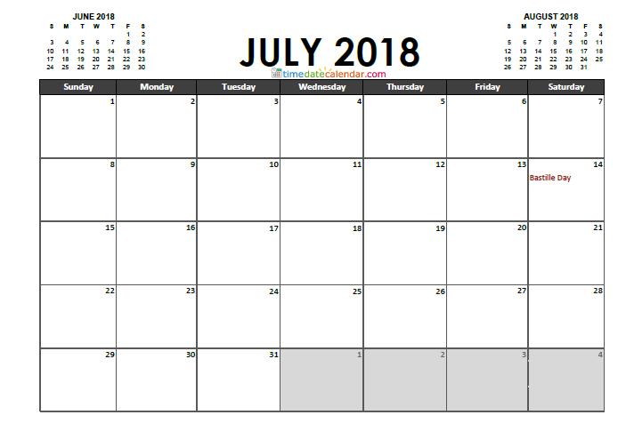 Calendar July 2018 France