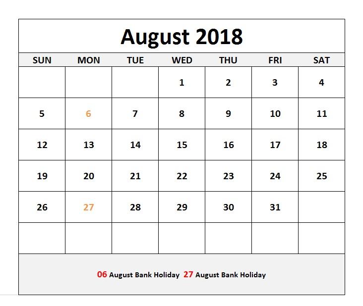 Canada August 2018 Blank Holidays Calendar