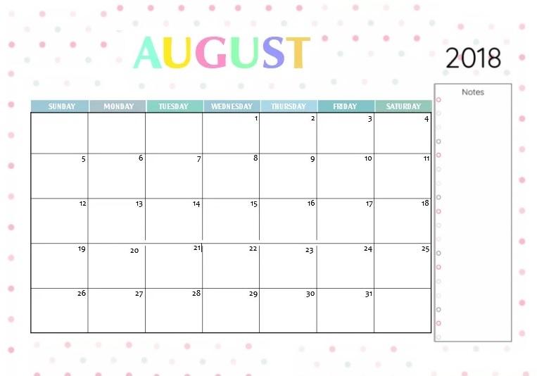 Canada August 2018 Calendar
