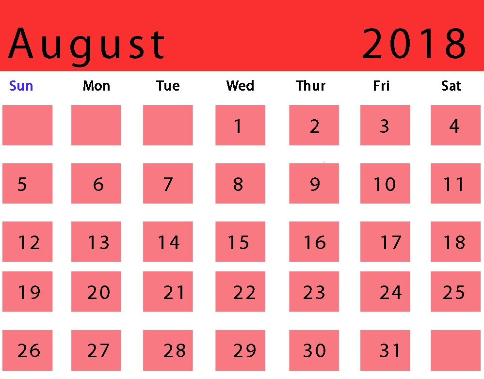 Canada August 2018 Holidays Calendar To Print