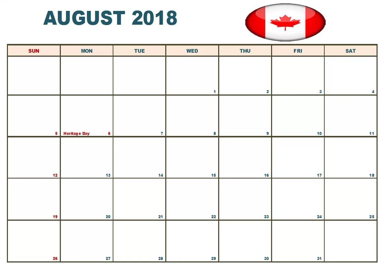 Canada August 2018 Holidays Calendar