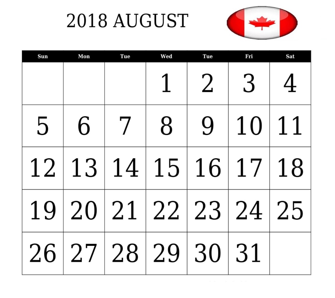 Canada August 2018 Holidays Organizer
