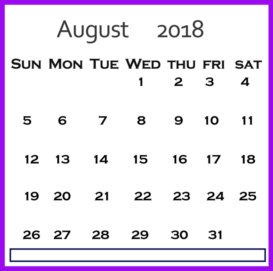 Canada August 2018 Holidays Planner