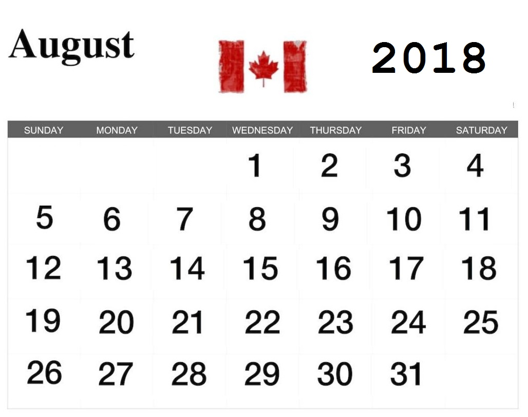 Canada August 2018 Holidays Template