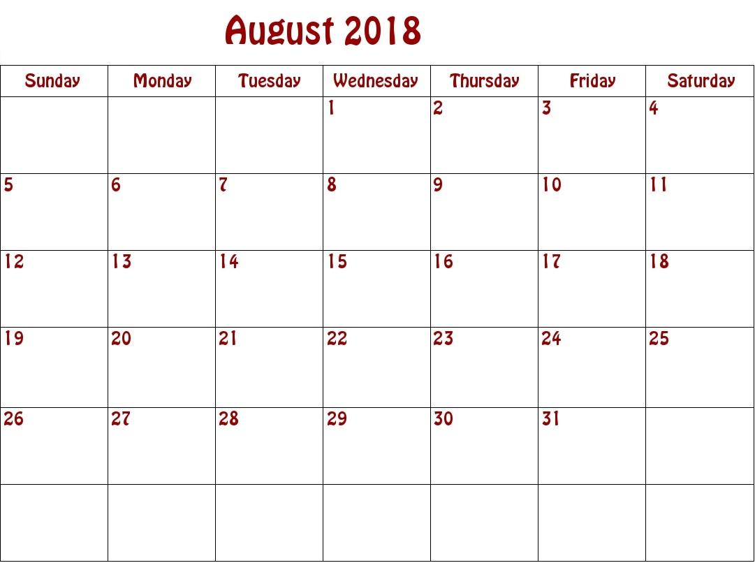 Canada August 2018 Monthly Calendar