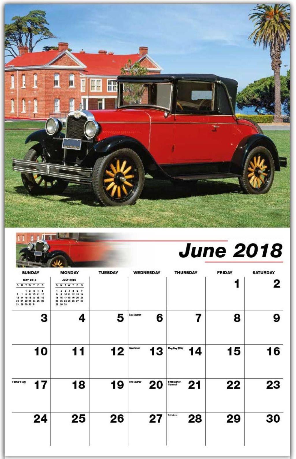 Classic June 2018 Wall Calendar