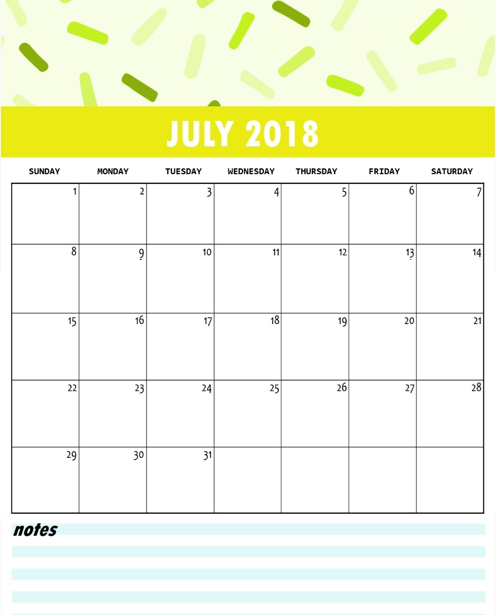 Colorful Blank Calendar 2018 July