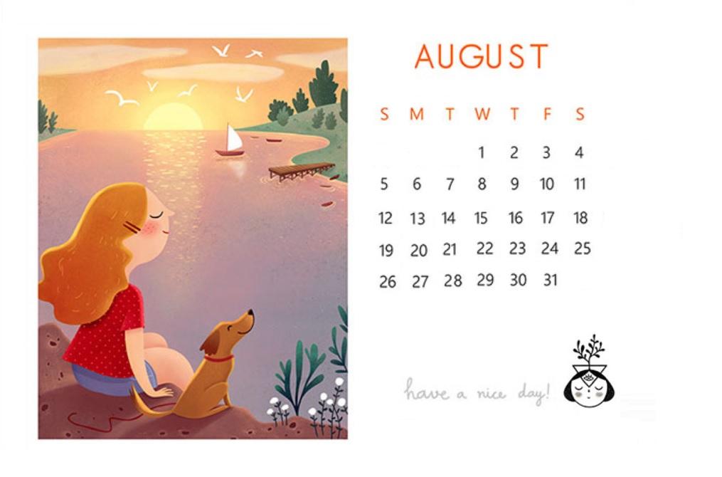 Cute August 2018 Desk Calendar