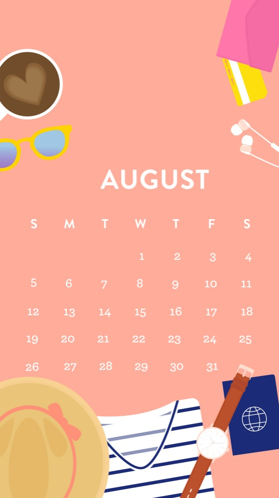 Cute August 2018 iPhone Calendar Wallpapers