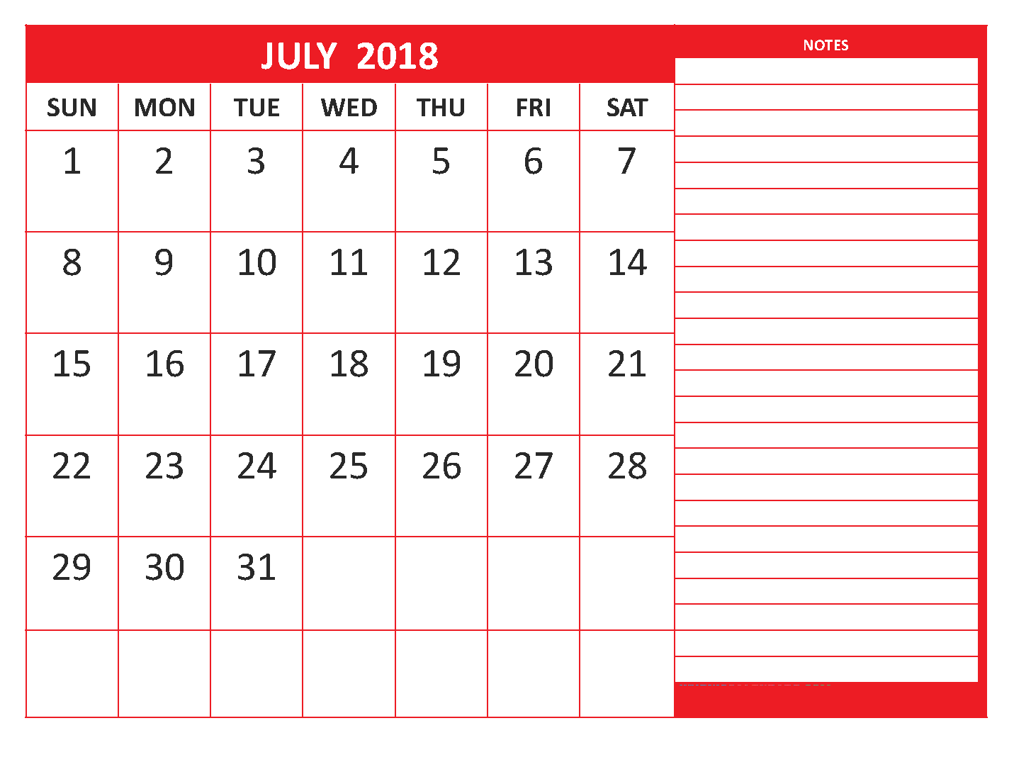 Cute July 2018 Calendar With Notes