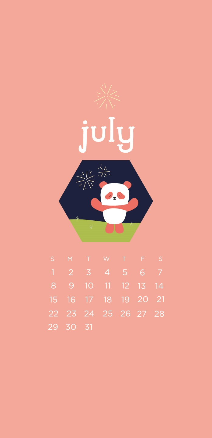 Cute July 2018 iPhone Calendar Wallpaper
