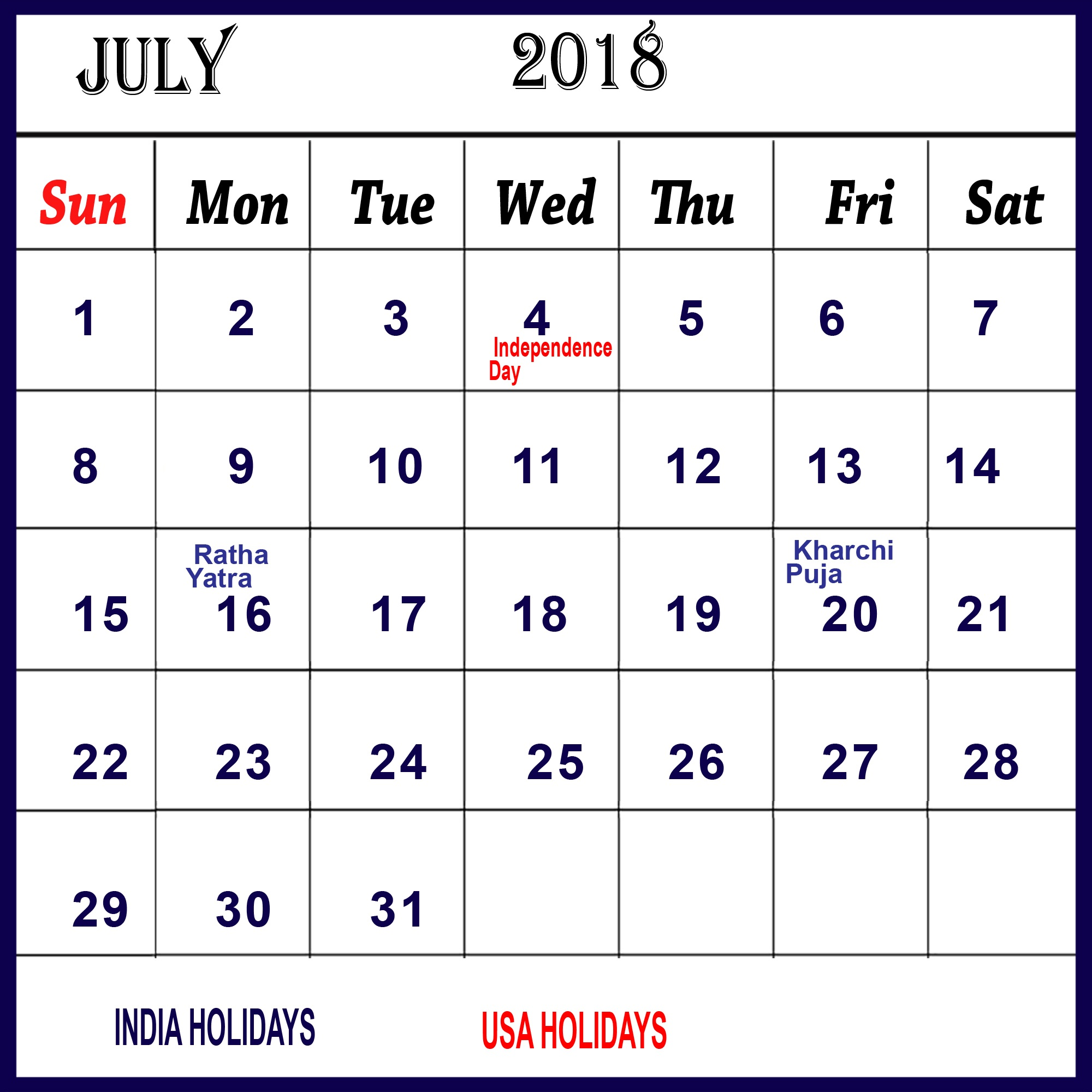 Cute July Calendar 2018 With Holidays