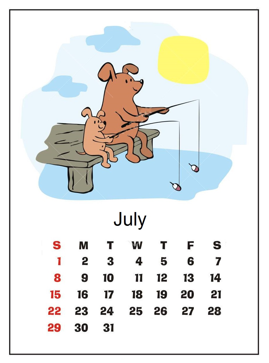 Cute July Month 2018 Calendar