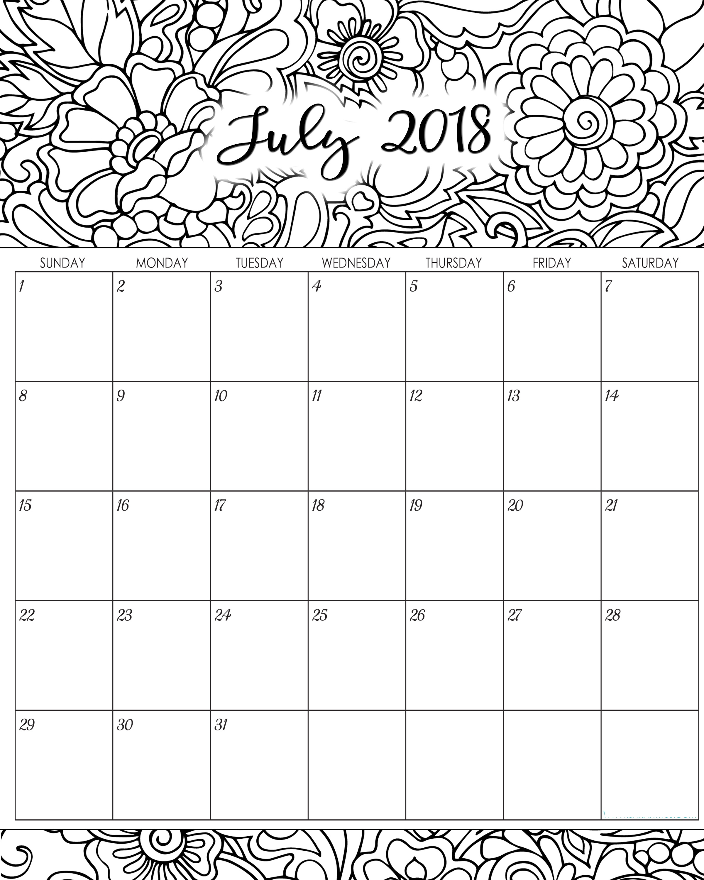 Download Calendar of July 2018