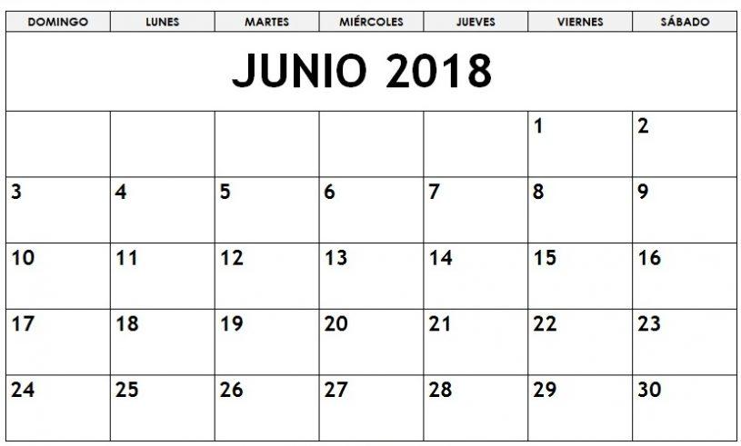 Download June 2018 Calendar in Spanish