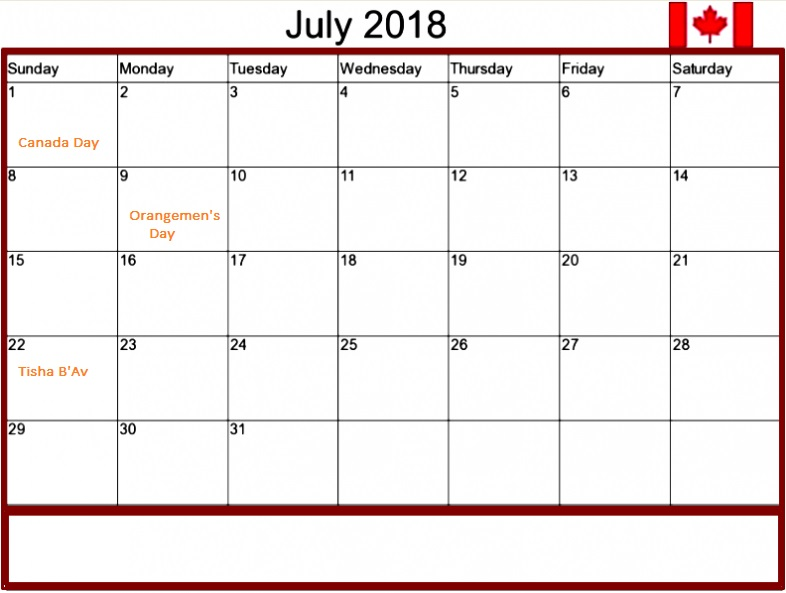 Editable July 2018 Calendar For Canada