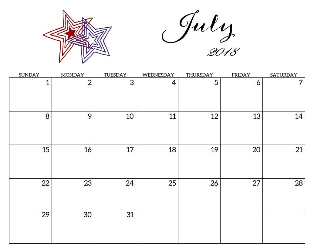 Editable July 2018 Calendar Planner