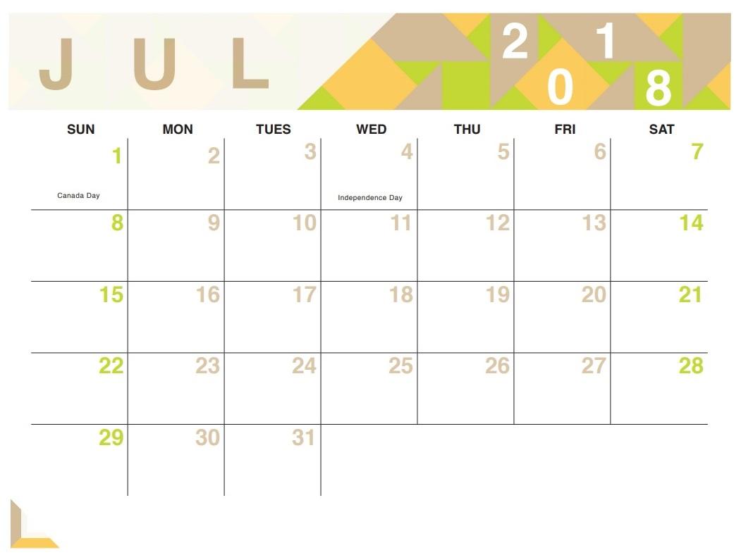 Editable July 2018 Design Calendar