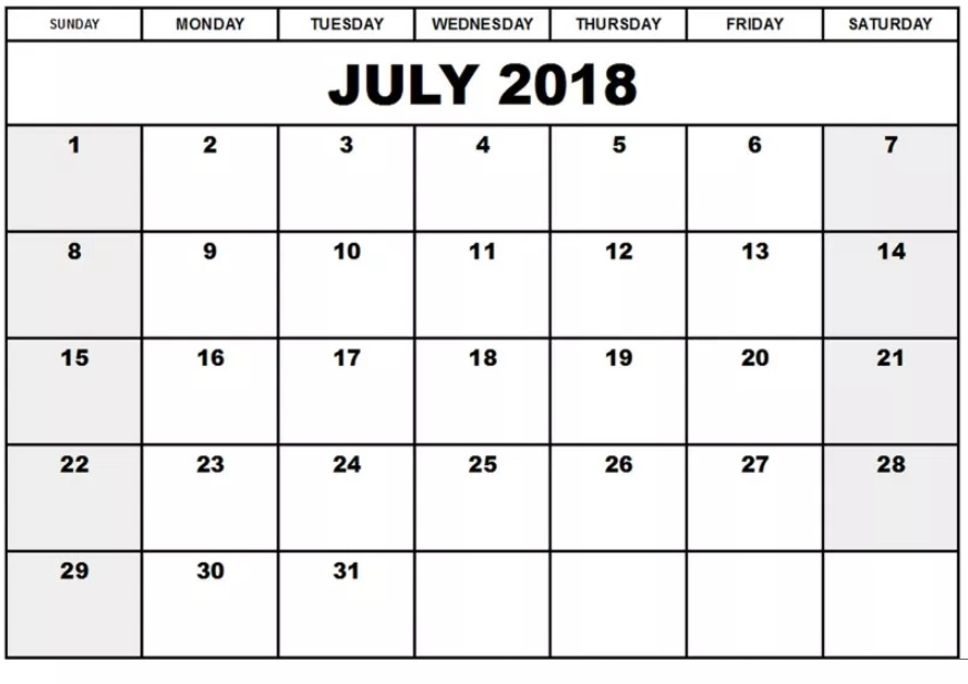 Editable July 2018 Waterproof Calendar