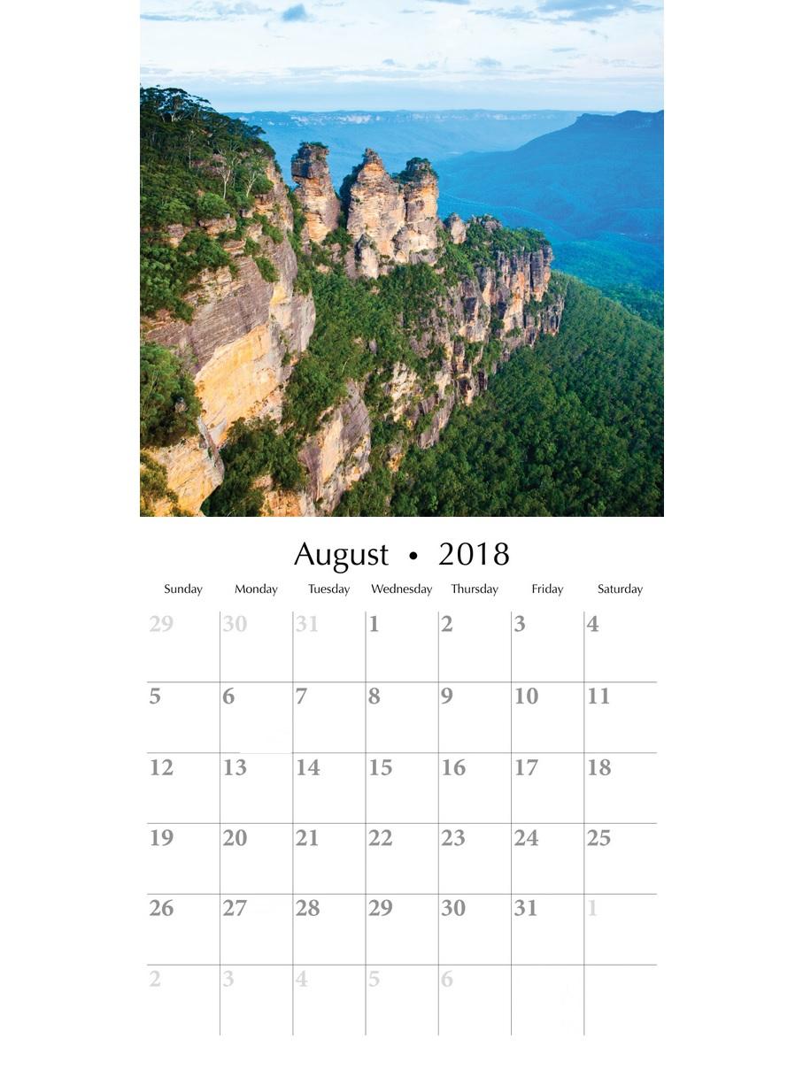 Excellent August 2018 Wall Calendar