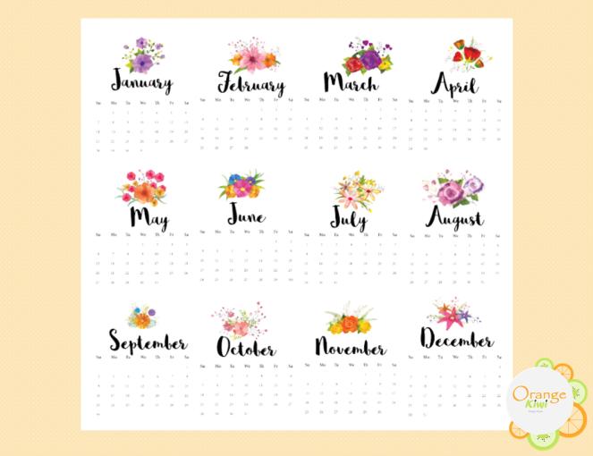 Floral 2018 Calendar