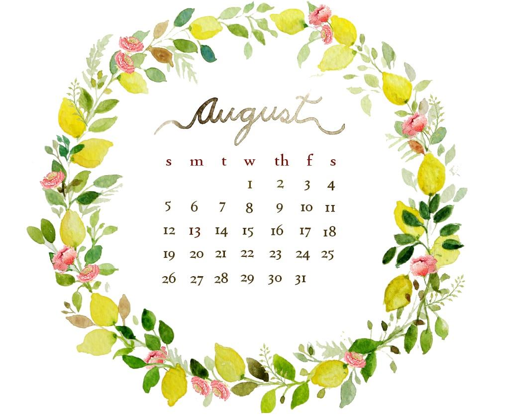 Floral August 2018 Desktop Calendar