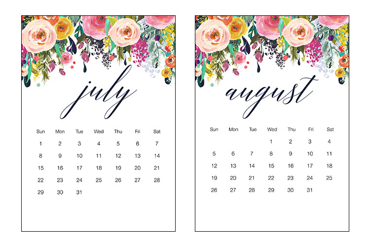 Floral July and August Calendar 2018