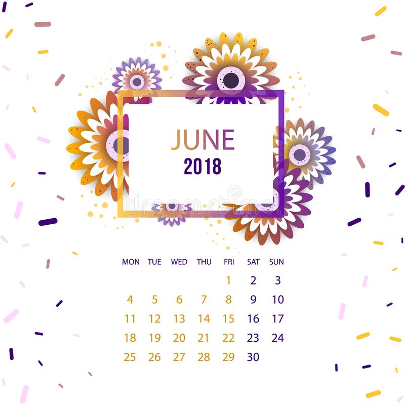 Floral June 2018 Calendar Printable Template