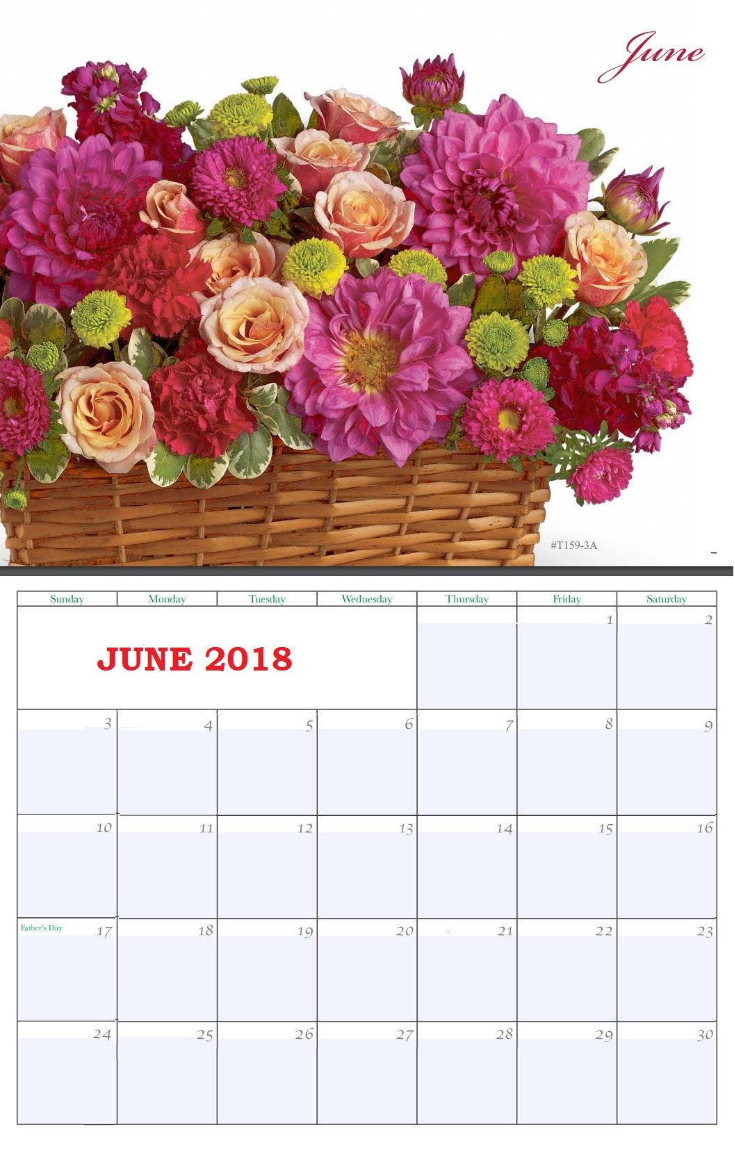 Floral June 2018 Wall Calendar